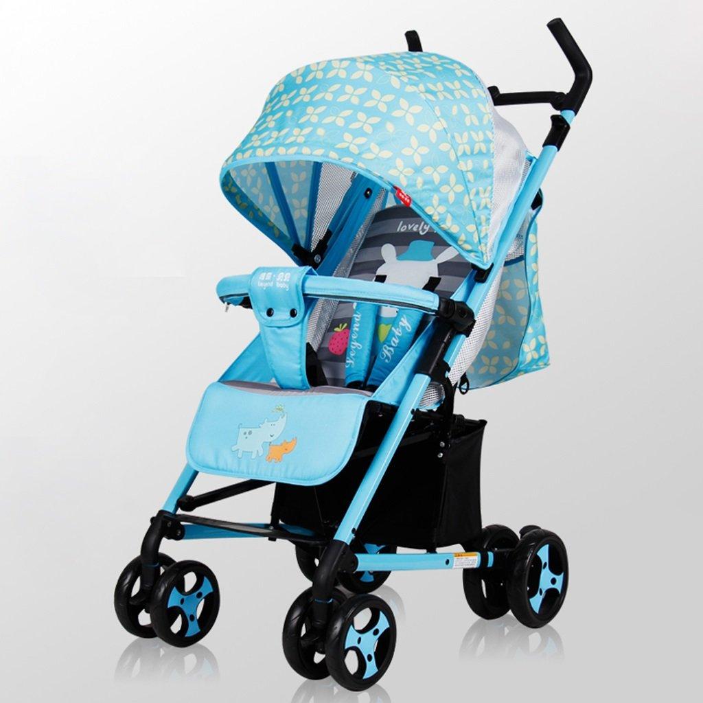 赤ちゃんのベビーカー軽量折りたたみポータブル傘はリクライニングチャイルドトロリー(青)(緑)を座らせることができます67 * 51.5 * 110センチメートル ( Color : Blue ) B07BVGHYRR
