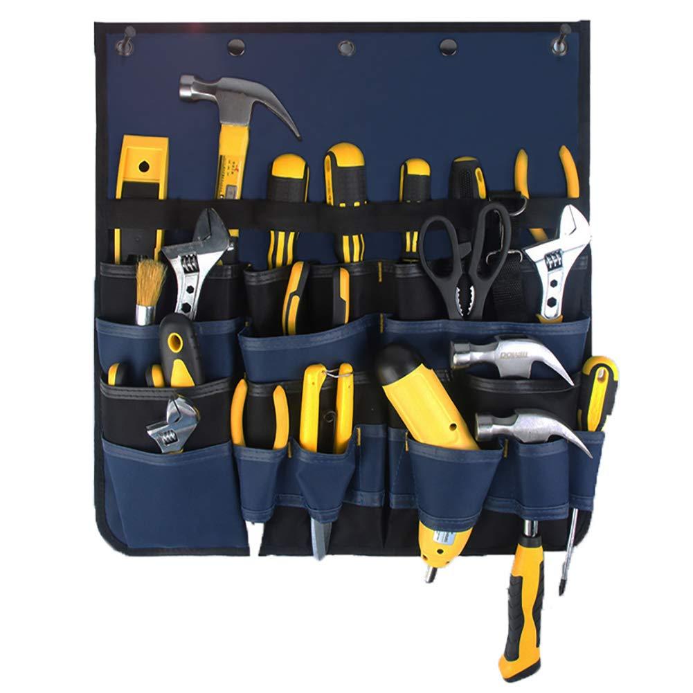 Werkzeuge nicht im Lieferumfang enthalten Werkzeug-Organizer QEES HGJGD02 Verstellbare H/ängetasche Werkzeugrolle mit mehreren F/ächern