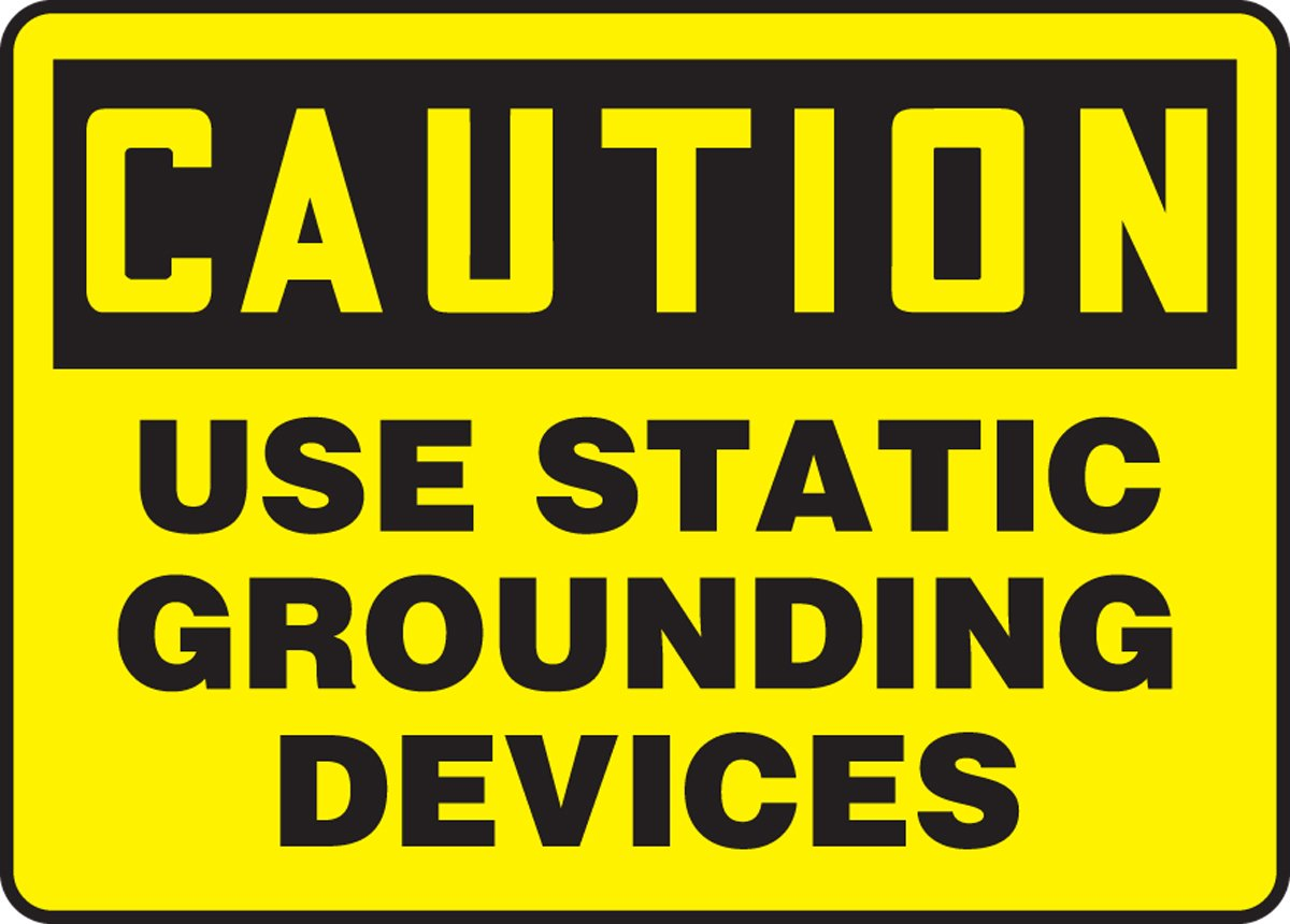 7 Length x 10 Width Black on Yellow LegendCAUTION USE STATIC GROUNDING DEVICES Accuform MELC654VA Aluminum Sign