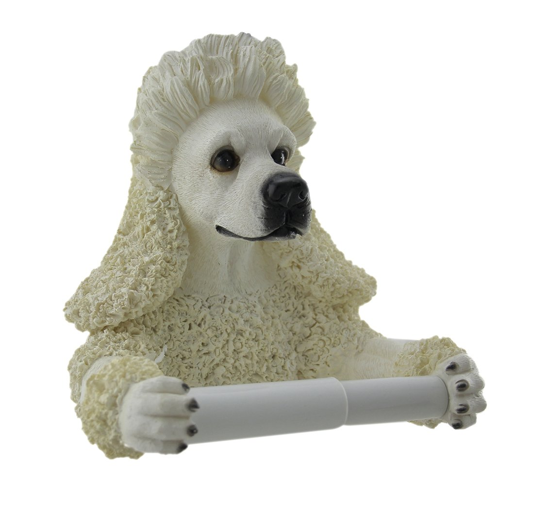 Zeckos Resin Toilet Paper Holders Poodle Pal Hanging Single Roll Toilet Paper Holder 7.75 X 7.5 X 4.5 Inches White