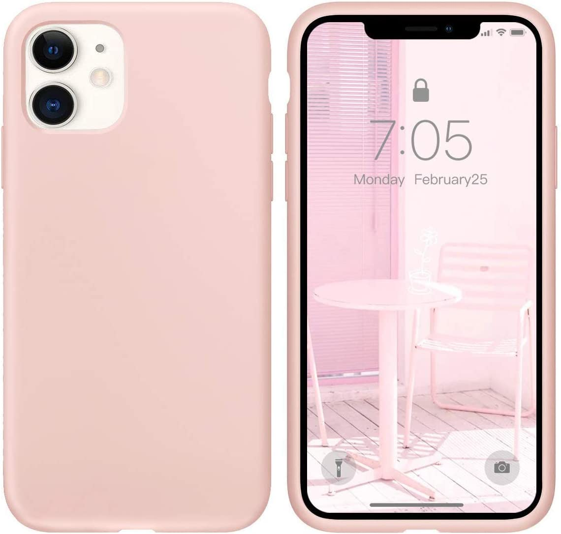 IceSword iPhone 11 Case Pink Sand, Thin Liquid Silicone Case, Soft Silk Microfiber Cloth, Matte Pure Cute Pink, Gel Rubber Full Body, Cool Protective Shockproof Cover 6.1