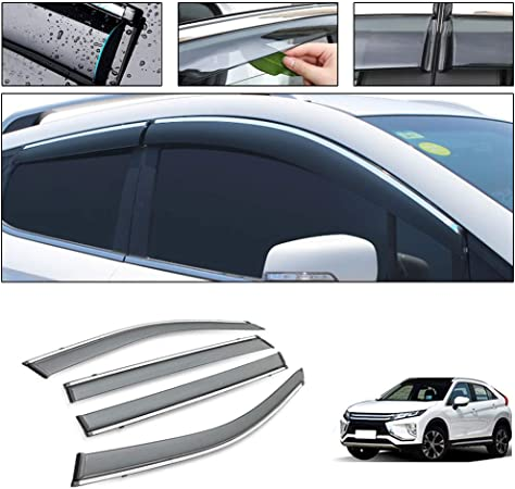Visor Vent Shade Rain// Sun// Wind Guard Shied with Chrome Trim Emblems Custom Fit For VW Tiguan 2017 2018 4pcs Smoke color Window