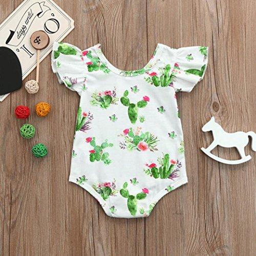 Sannysis Baby Bademode, Sommer Baby Mädchen Kaktus-Druck Ärmellose Jumpsuit Kleidung Fliegen Hülsen Spielanzug Weiß