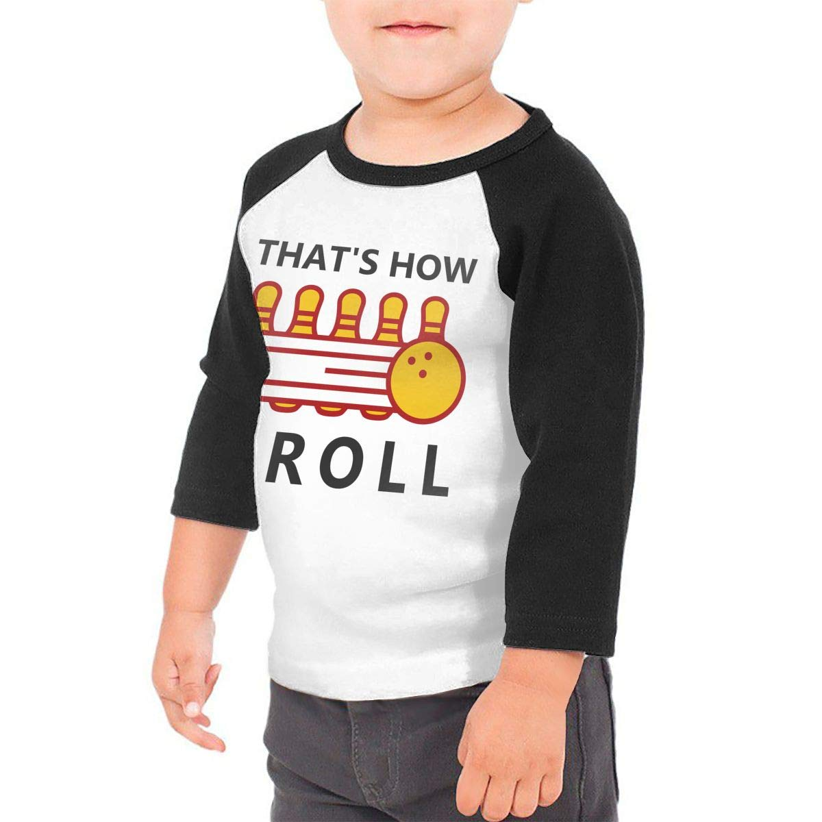 Kocvbng I Thats How I Roll Bowling Raglan 3//4 Sleeves Shirt for Girls Boy