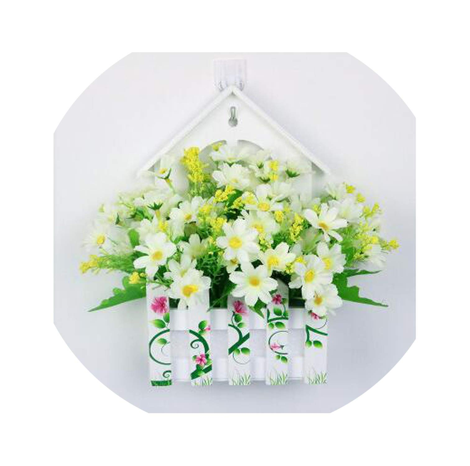 Simulation Flower Wall Hanging Wall Decoration Flower Basket Suit,6