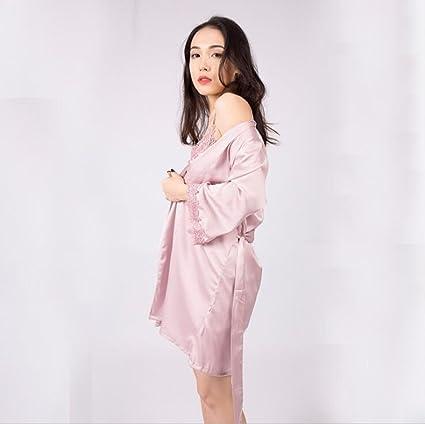 GSHGA Sling Shorts Pijamas Mujeres Camisón de Seda de Simulación de Encaje Sexy de Tres Piezas