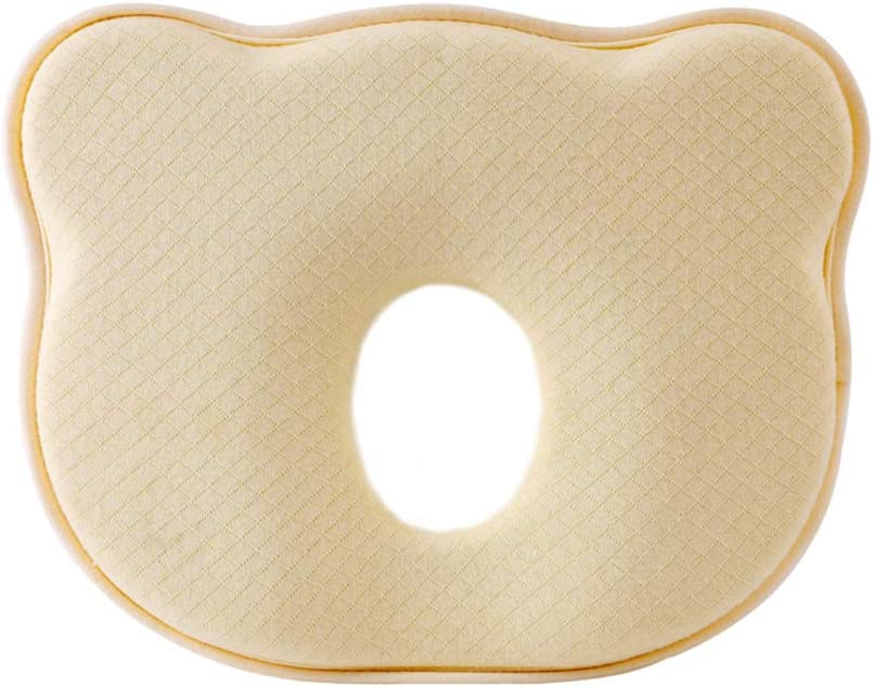 Yellow NiDream Baby Pillow,Newborn Pillow,Infant Memory Foam Pillow,Flat Head Syndrome and Head Shaping Pillow