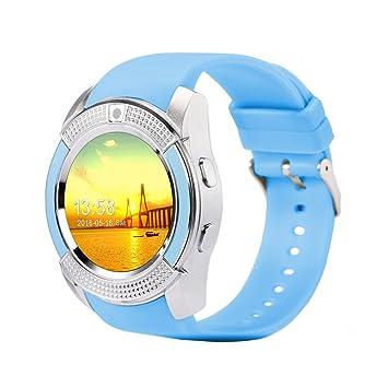 FAVOLOOK V8 - Reloj inteligente con Bluetooth, pulsera deportiva SIM GSM para Android, reloj de salud, podómetro de fitness, 0.02, color azul: Amazon.es: ...