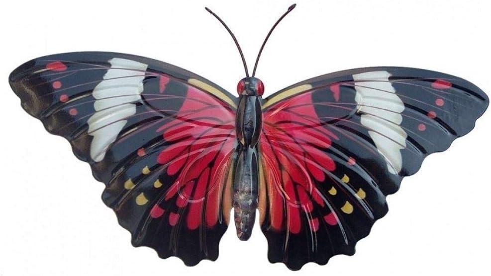 Mariposa grande Primus de color rojo y negro, hecha de metal para decorar jardines y paredes: Amazon.es: Hogar