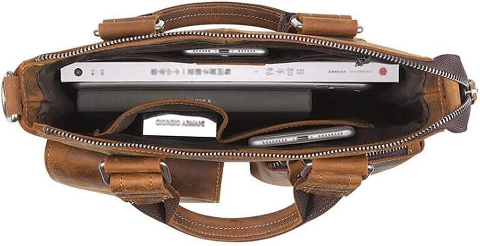 Crazy Horse Leather Mens Vintage Business Briefcase Fashion Mens Shoulder Messenger Bag Handbag