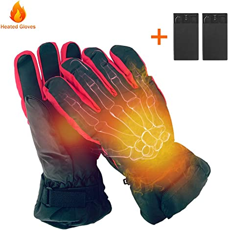Heated Gloves,Rechargeable Electric Heating Gloves Hand Warm Equipment Mens Gloves /& Womens Gloves Thermo-Gloves Kit Ideal for Cold Weather Winter Outdoor Sports