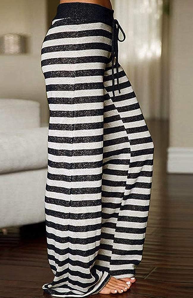 BELLEZIVA Women Striped Polka Dot Floral Pajama Pants High Waist Drawstring Wide Legs Palazzo Pants