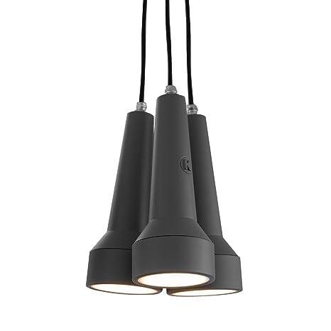 Lámpara de techo Torcia de plástico gris, hecha a mano en ...