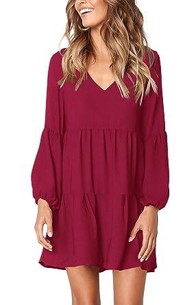 b9ec650cad6 FHKDL Women s Long Sleeve Tunic Dress Casual Ruffle Swing Shift Dresses Red