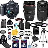 Canon EOS 6D 20.2 MP CMOS Digital SLR Camera w/ 3.0-Inch LCD w/ EF 24-105mm f/4 L IS USM Lens +EF 75-300mm f/4-5.6 III Telephoto Zoom Lens +16pc Accessory Kit - International Version