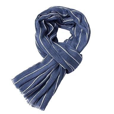 T.Mullen Écharpe d hiver pour homme écharpe à rayures Bleu  Amazon ... 0ddde2e46ac