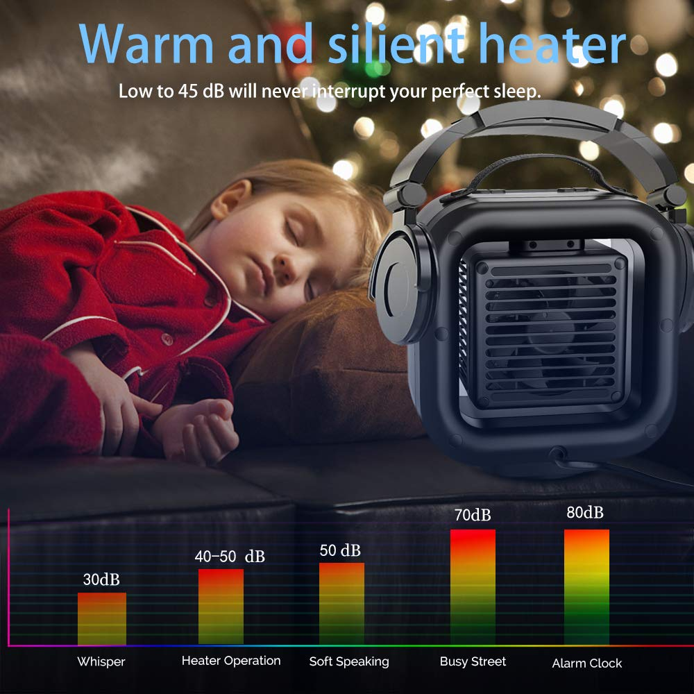 Ceramic Space Heater,VPKID Portable Warming Fan with Adjustable Thermostat & Carrying Handle,Quiet Oscillating PTC Heater with Tip-Over and Overheating Protection