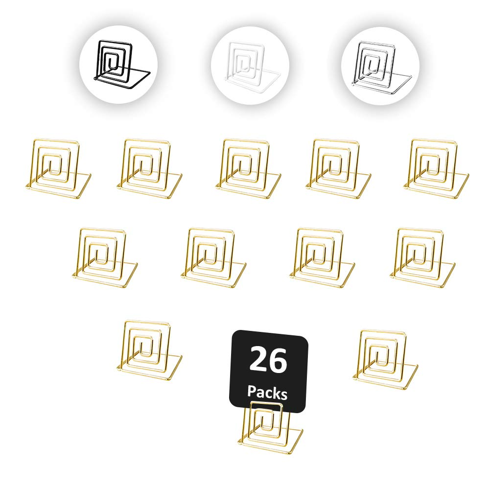 Urban Deco 26 Pieces Wire Place Table Card Holder Metallic Gold Square Card Holders for Photos, Food Signs, Memo Notes, Weddings, Restaurants, Birthdays.