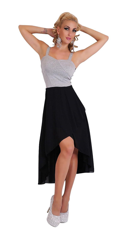 Damen Chiffon Minikleid Kleid Midikleid Träger Abendkleid Cocktailkleid Schleppe