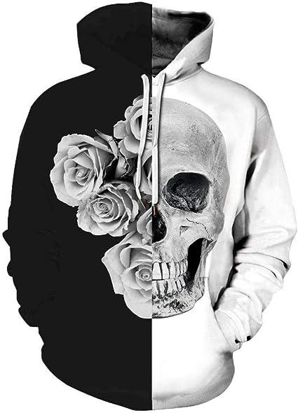 Hoodies Sweaters Men Long Sleeve Flower Skull Printed Pullover Hooded Sweatshirt With Pockets