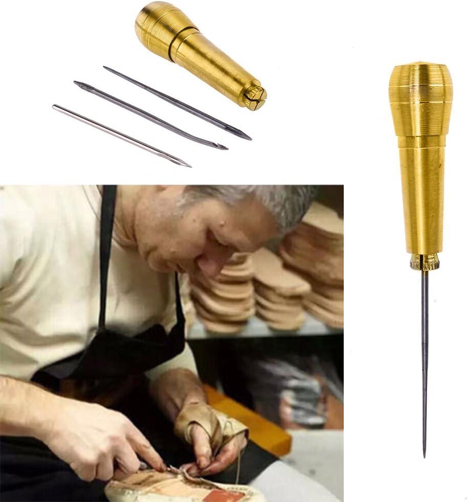 Tekijun Sewing Awl Drilling Tool Sewing Shoe Repair Tool 1sets Sewing Tools Needle Awl Leather Craf