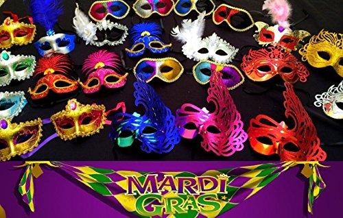 Wholesale Lot of 100 Mardi Gras Masks Masquerade Party Bulk Sale (Party Wholesale)