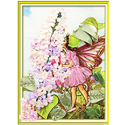 Egoshop Silk Ribbon Embroidery Kit Flower Fairy DIY Wall Decor Stamp Silk Ribbon Embroidery Kit With English Instruction