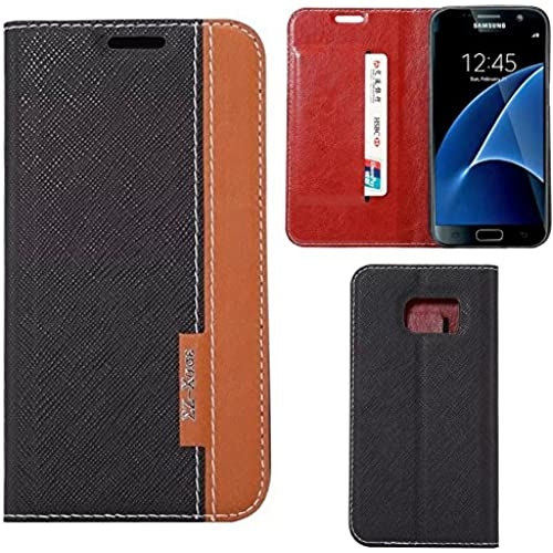 Galaxy S7 Case - Ruilida Color Block Stand Leather Case wtih Card Slot For Samsung Galaxy S7 (Black) Sales