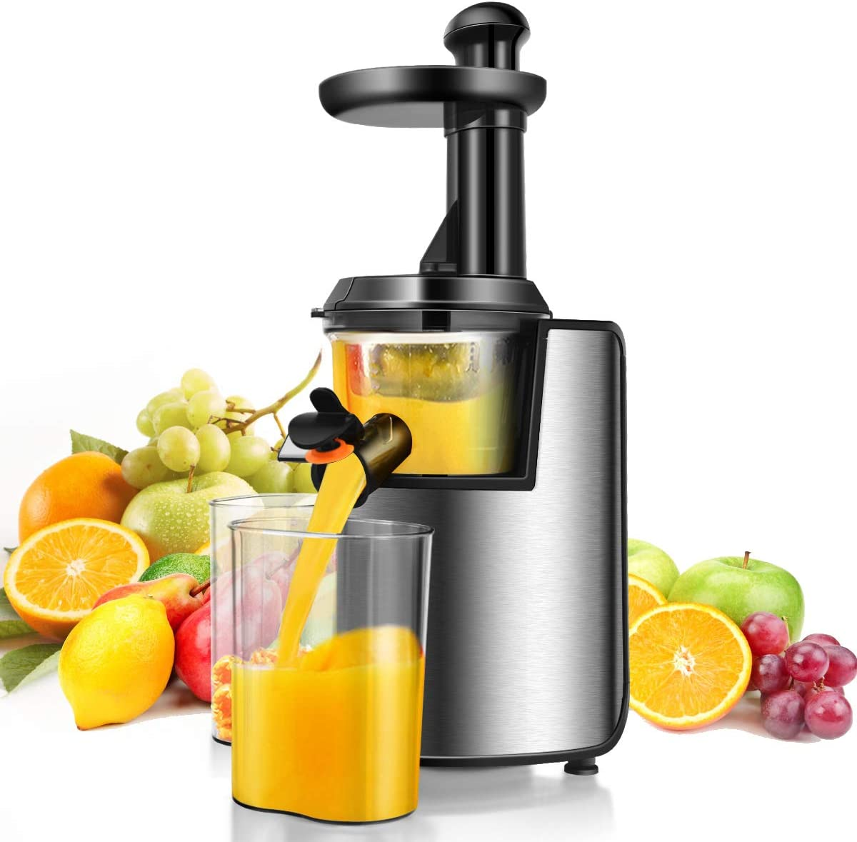 Costway Slow Masticating Juicer with Reverse Function, Cold Press Juicer Machine for Higher Nutrient Fruit and Vegetable Juice, 200W Stainless Steel Juicer Machine with Quiet Motor & BPA-FREE, Easy to Clean