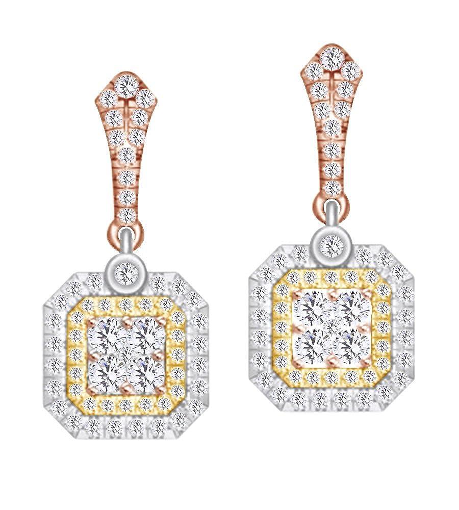 0,85 ct Rundschliff Diamant Weißszlig; Octagon Form Tri Tone baumeln Ohrringe in 14 ct 585 Massiv Weißszlig; Gold 14 Karat RotGold