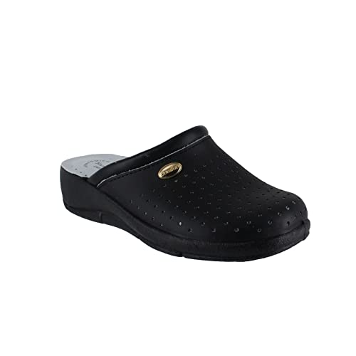 San Malo Womens Leather Clogs Kitchen Garden Heeled Mules Shoes