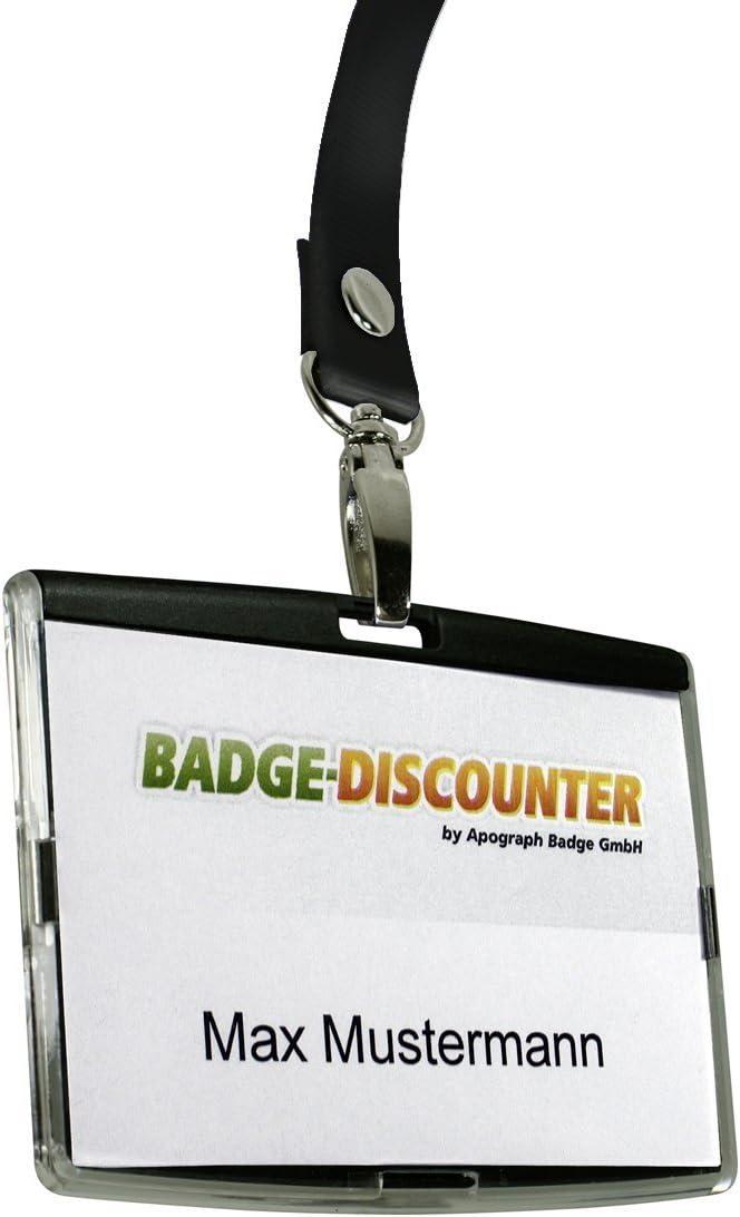 confezione da 10 trasparente Porta badge orizzontale in plastica dura Wuuycoky