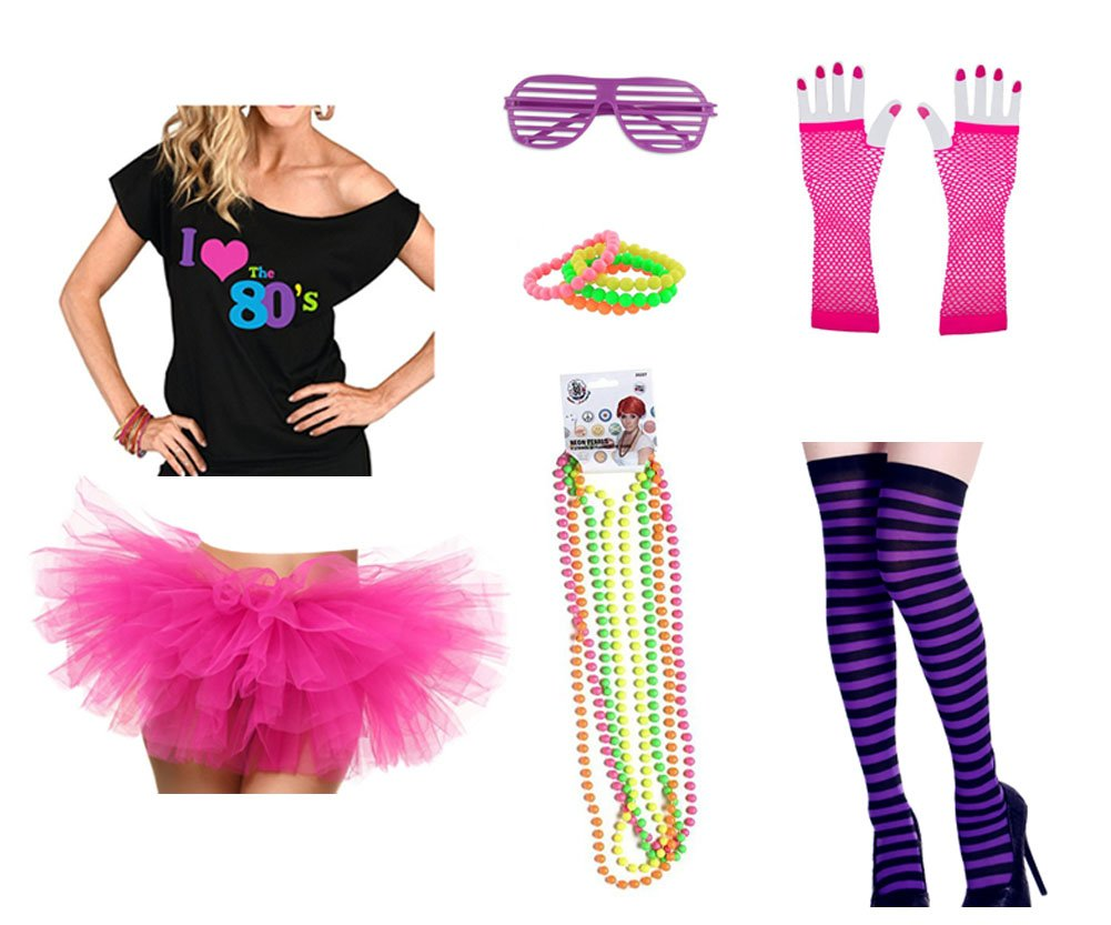 80s Outfit Costume Accessories Set I Love 80's T-Shirt Tutu Skirt Stockings Fishnet Gloves Glasses Bracelet and Necklaces (XL, Hot Pink)