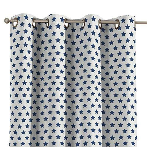 Dekoria Ösenschal Dekoschal Blickdicht 1 Stck. 130 × 260 cm Weiss- blau Maßanfertigung möglich