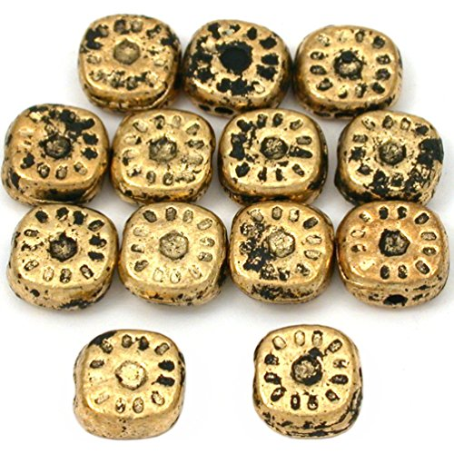 15g Bali Square Sun Bead Antq Gold Plated 8mm Approx 12 ()