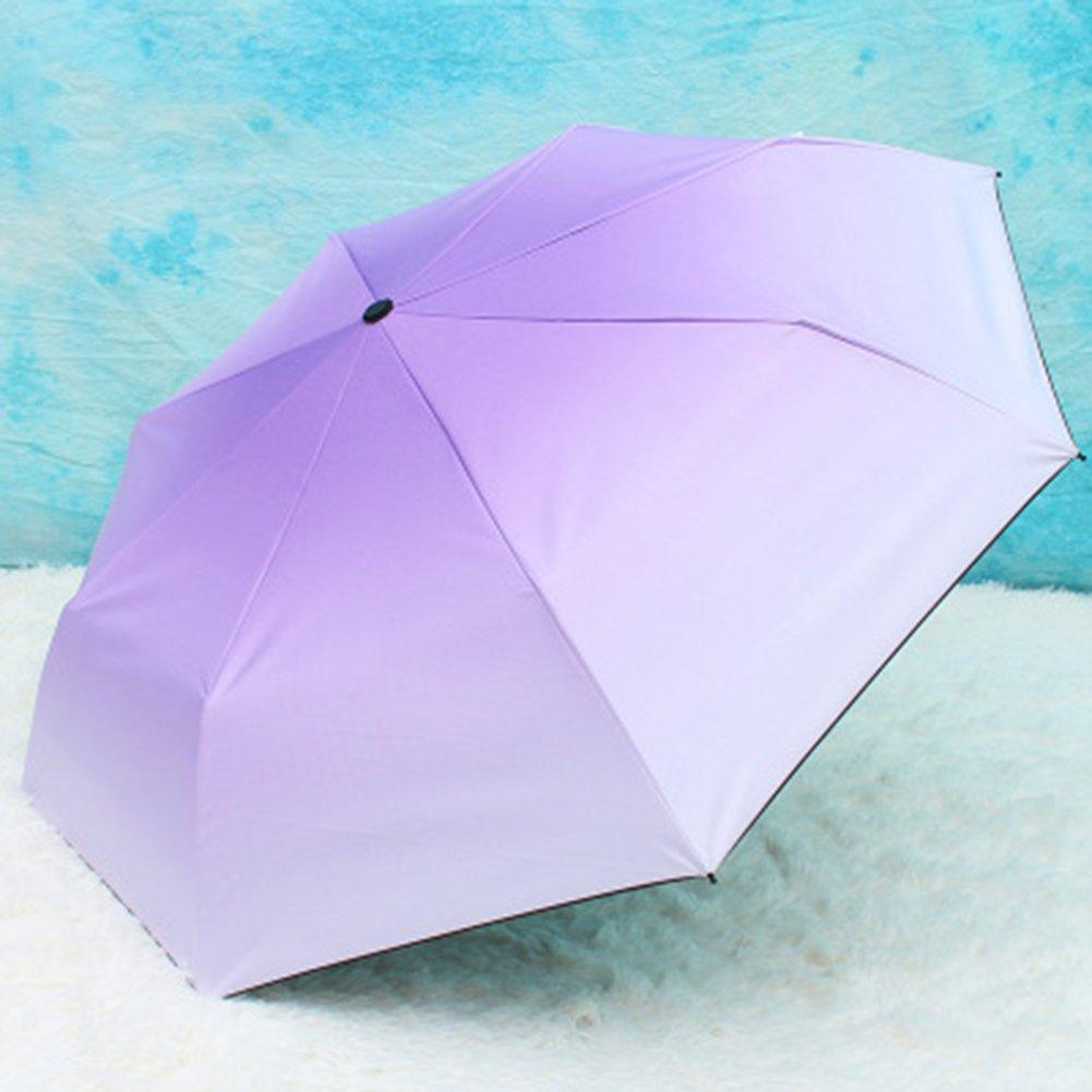 HAOXINQ Creative Gradient Parapluies Élégants Mesdames Vinyle Parapluie UV Outdoor Double Utilisation Lunettes De Soleil Parapluie UV,Purple