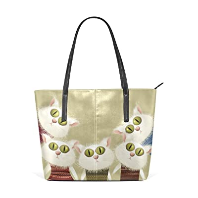good Womens Leather Top Handle Shoulder Handbag Five Cats Large Work Tote Bag