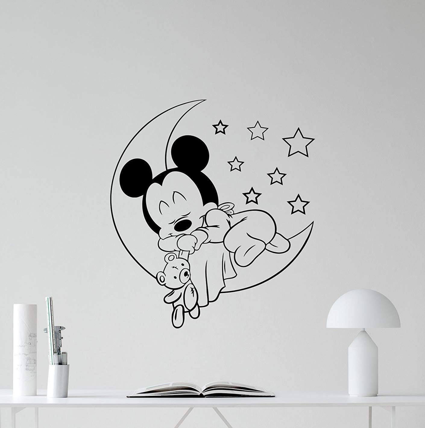 Amazon com fsds mickey mouse baby sleeping vinyl wall decal