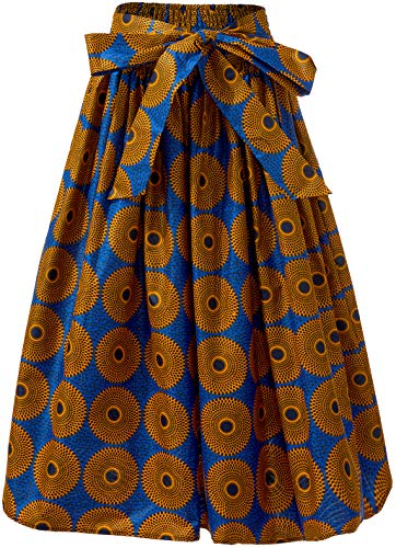 - HongyuAmy Women African Print Skirt Dutch Ankara Wax Print Full Circle Skirt (Large, Color B)