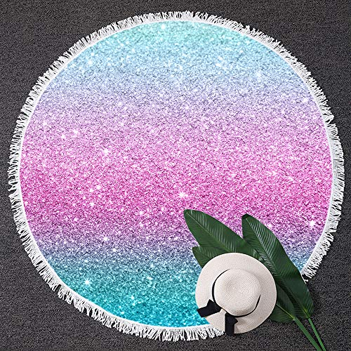 BlessLiving Colorful Glitter Thick Round Beach Towel Blanket Girly Turquoise Blue Pink Beach Roundie Women Yoga Mat (59 inch)