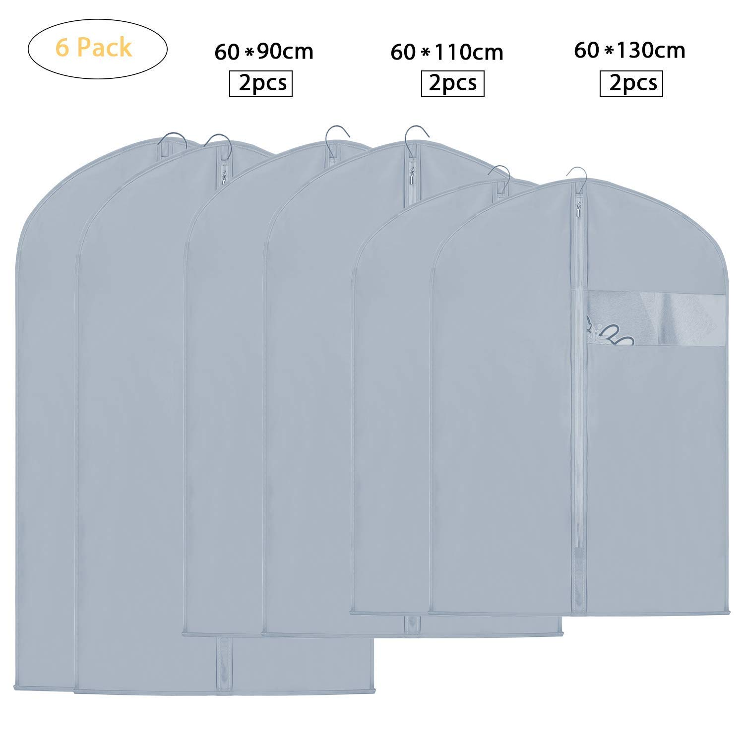 EKKONG Grey Garment Bags for Breathable Storage of Suits or Dresses—Includes Zipper & Transparent Window (Pack of 6)