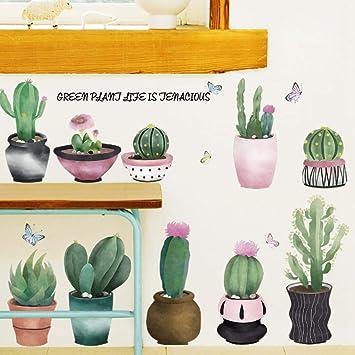 Etiqueta De La Pared Pegatinas De Pared Cactus Suculentas Planta ...
