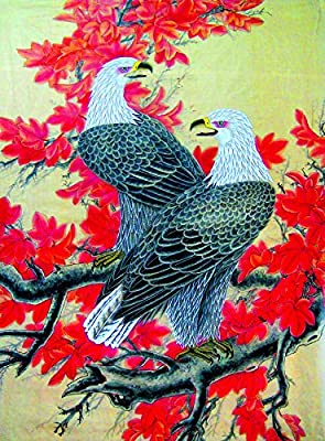 Eagles in Maple Tree Oil Painting Reprodution. Based on Famous Traditional Chinese Realistic Painting. (Unframed and Unstretched).
