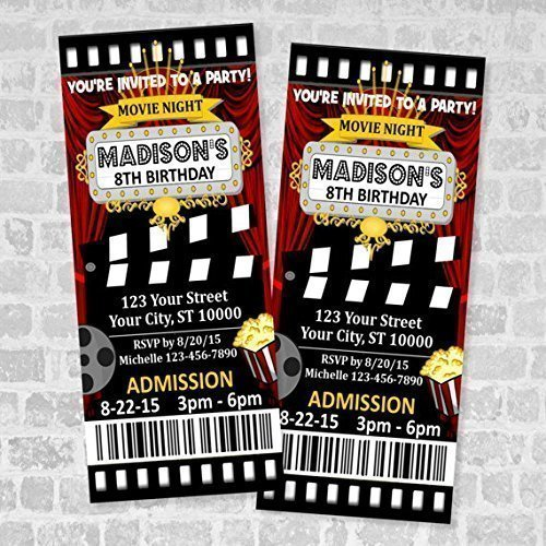 amazon com movie ticket birthday party invitation custom movie
