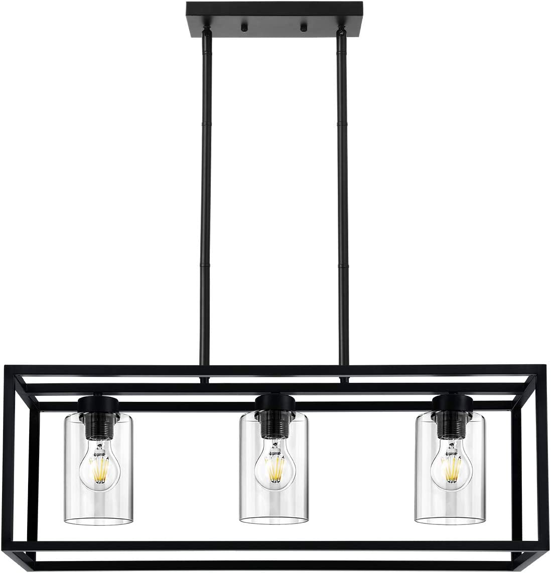 KEDSUM 3 Lights Farmhouse Kitchen Island Lights, Modern Chandeliers Rectangle Black Pendant Lighting for Dinging Room, Hanging Linear Cage Island Lighting with Clear Glass Shade and Adjustable Rods - -
