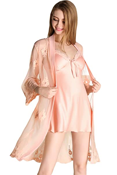Awaye Satin Nightgown Robe Set Lingerie Two Piece Suit Sleepwear Lace Pajama  Soft Sexy Nightwear e765d0cc9e