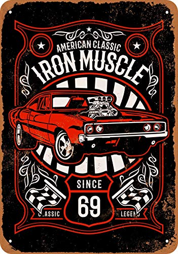 Muscle Car Signs - Wall-Color 10 x 14 Metal Sign - Iron Muscle Classic Cars Since 1969 (Black Background) - Vintage Look
