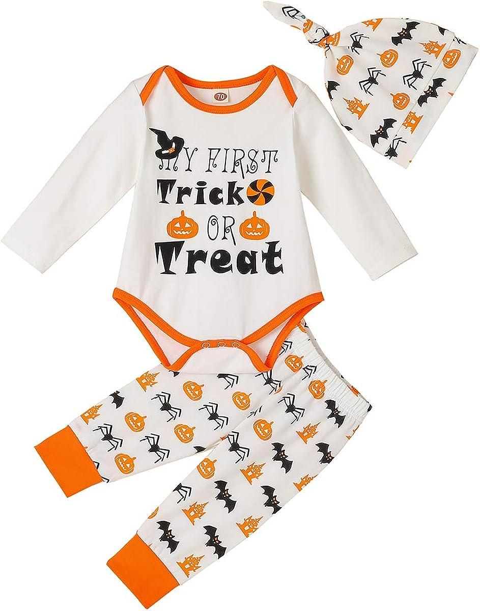 Newborn Baby Girl Boy Halloween Outfits Pumpkin Long Sleeve Bodysuit Romper+Leg Warmers+Headband Pants//Socks+Hat Clothes Set
