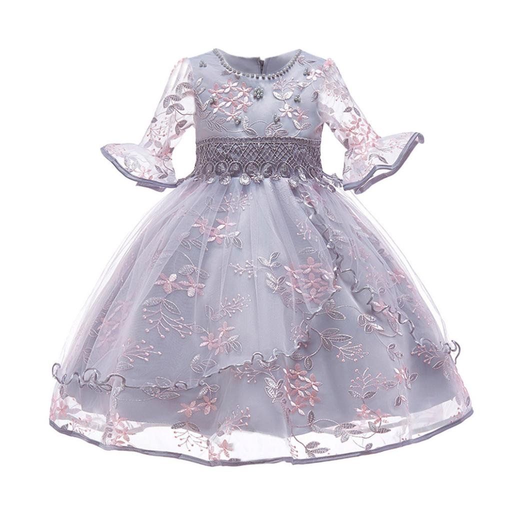 Webla(TM) Toddler Kids Baby Girl Princess Dresses Floral Print Bowknot Embroidery Formal Clothing Flare Sleeve Outfits Set Birthday Party School Festival Tutu Dresses for 3-7 Y