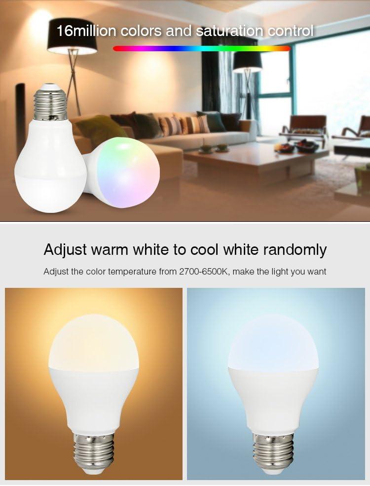 Farbtemperatur einstellbar,Fernbedienung,Wandpanel und iBox-Hub f/ür die Smartphone APP-Steuerung,alles ist separat erh/ältlich-EINWEG Mi-Light 9W RGBWW Smart WiFi LED-Gl/ühlampe E27,RGB+CCT Farbwechsel